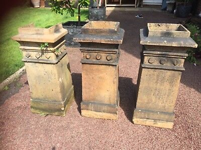 Trio Victorian Chimney Pots matching set of 3 garden ornaments, planters, pots