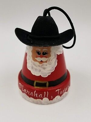 Clay Pot Cowboy Santa Claus Ornament, Marshall, Texas