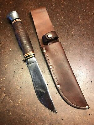 Kabar 1205 USA Fixed Blade Steel Hunting Knife With Leather Sheath Vintage