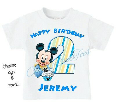 Baby Mickey Mouse CHOOSE AGE AND NAME Custom t-shirt Personalize Birthday