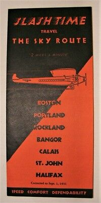 Sep 1 1931 Timetable (second and final for Pan Am) + Boston Maine Airways