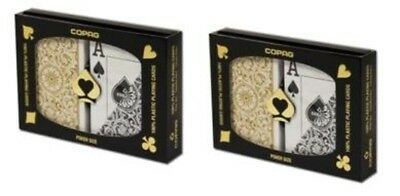 2 Sets Black Gold Poker Wide Jumbo Index Copag Plastic Playing Cards FREE CUT