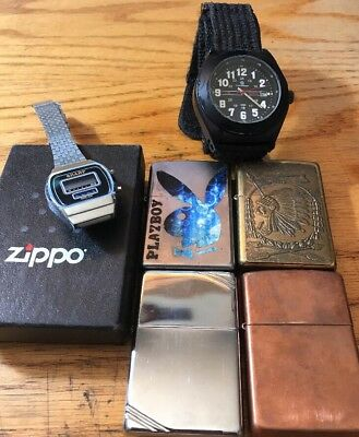 *Lot of Watches and Lighters- Zippo, Smith & Wesson, Sharpe LOOK 15-13