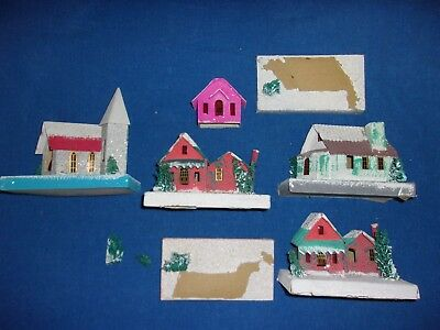 5 Paper Cardboard & Mica Glitter Christmas Putz Houses Church Japan Collection