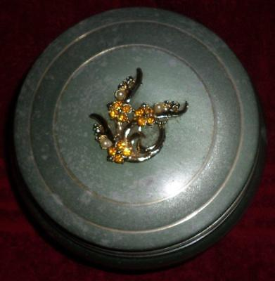 "Vintage Metal Musical Powder Box ""Let Me Call You Sweetheart"" Rhinestone Top"