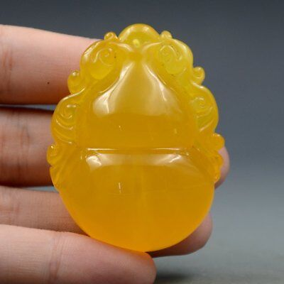 20.7g 100% Natural Amber Beeswax Baltic Hand-carved Gourd Statue Pendant B68