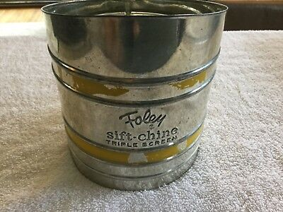 Vintage Foley Sift-Chine Triple Screen Sifter Yellow Trim