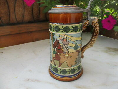 Antique J>W Remy .5l etched stein  #899 Knights with cattle