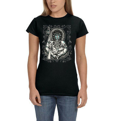 Native American Indian Sitting Chief With Rifle Cool Womens T-Shirt Tee