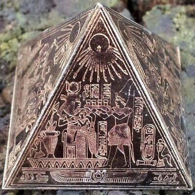 Antique Egyptian Bronze Pyramid ~ Etched Brass/Copper ~ Ancient Egypt King Tut