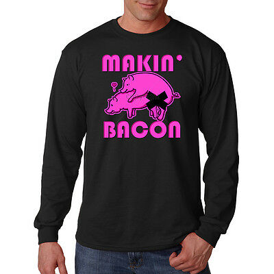 b9b06258 Making Bacon Two Pigs In Love Having Sex Funny Humor Long Sleeve T-Shirt Tee