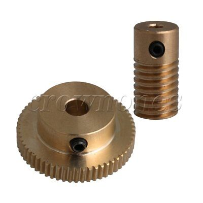 3.17MM Bore ID 0.5 Modulus Brass Worm Shaft 60 Teeth Worm Gear Wheel