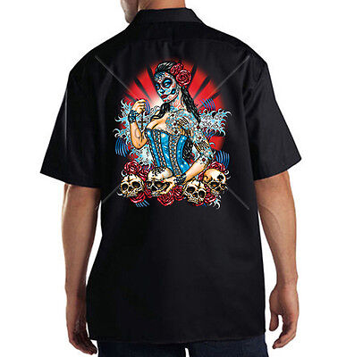 Dickies Mechanic Work Shirt Day Of Dead Girl Face Painted Sugar Skulls Roses