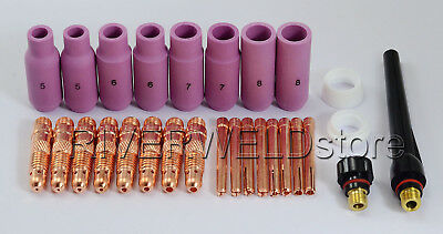 TIG KIT Collet Body Alumina Nozzle Fit WP 17 18 26 Welding Torch Consumable 28pk