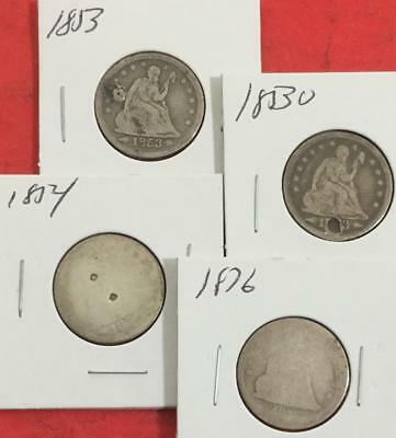 1853 1853O 1854 & 1876 US Seated LIBERTY SILVER Quarter Set of 4! Old US Coins!