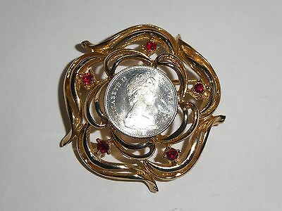 Vintage Gold Tone Coin Silver Canadian Dime Brooch 1960's