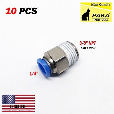"10pcs Male Straight Connector Tube OD 1/4"" X NPT 3/8 Push In Fitting One Touch"