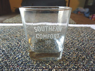 """Vintage Southern Comfort 100 Proof Square Bottom Whiskey Glass """" BEAUTIFUL COLLE"""