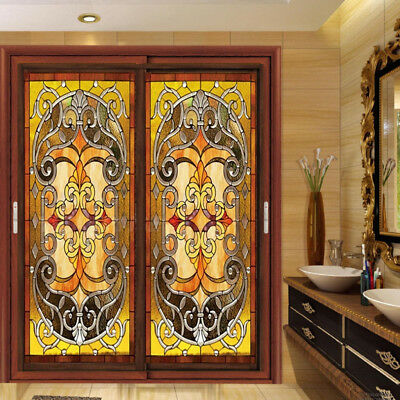 """Static Cling Window Film Stained Glass Effect  Door Closet Decoration 12""""*24"""""""