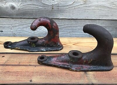 Lot of 2 Large Vintage Heavy-Duty Wall-Mount Cast Iron Hooks ~ Vintage Rigging