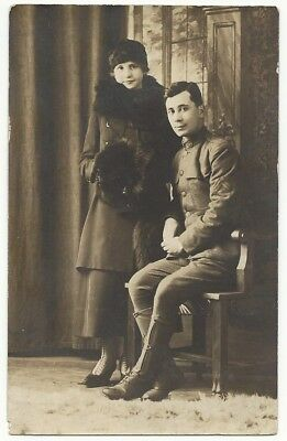 World War I era Uniformed Soldier w/ Sister? Sepia Tone Real Photo Postcard
