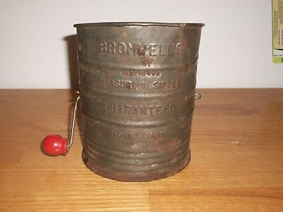 Vintage  Bromwell's 3 Cup Metal Measuring Sifter Red Wood Knob
