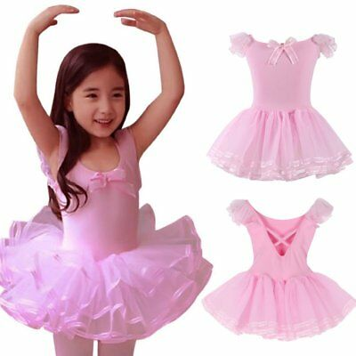 3-8Y Kid Girl Ballet Leotard Tutu Dress Party Dance Skating Ruffled Dancewear US