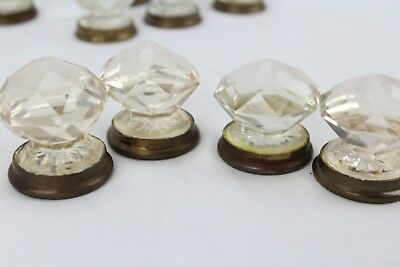 "Glass Small Round Crystal Clear Pull Knobs Brass Base 1.5"" Diameter 18 Pcs Total"