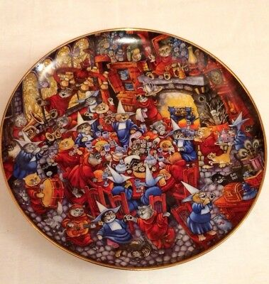 """Porcelain Gallery Bill Bell 8"""" Collector Plate Holy Cat Monks Monastery #C8343"""