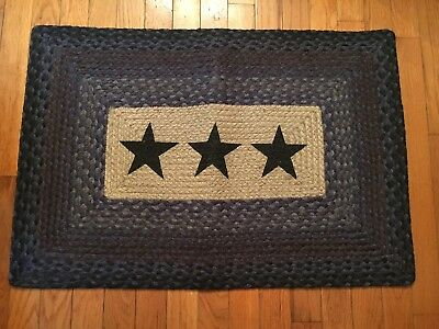 NEW Primitive Country Americana Stars Braided Rug