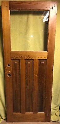 Antique Craftsman Exterior Stained Wood French Entry Door /w Clear Glass 32x80