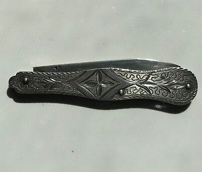 Vintage Sterling Silver Pocket Knife Fruit Knife - Hand-Chased Intricate Design.