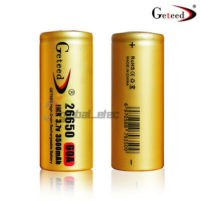 Geteed 26650 3500mAh 3.7V 60A High Capacity Rechargable Li-ion Battery Flat Top