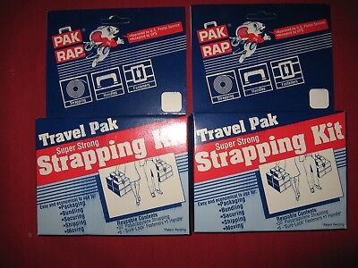 2 each PAK RAP Travel Pack Postal Approved Poly Strapping Kit 30' and Fasteners