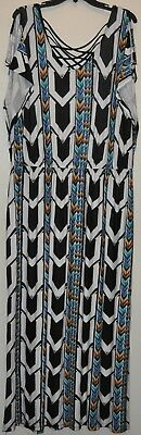132c7472e9b Apt 9 Women s Plus White Geometric Strappy Back Cold Shoulder Maxi Dress  Size 1X