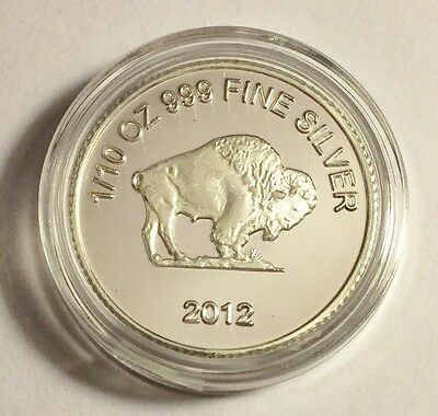 """2012 1/10th Oz 99.9% Pure Silver Bullion Coin, """"BUFFALO"""" Great Investment a"""