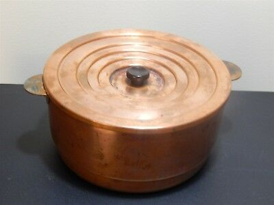 Antique copper boiler bath lab vessel with FIVE interlocking circular lids.