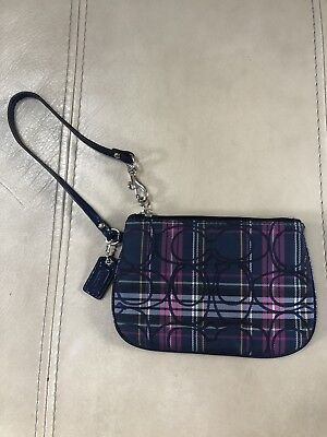 Authentic COACH Wristlet, Wallet, Navy Plaid, Small! NWOT!