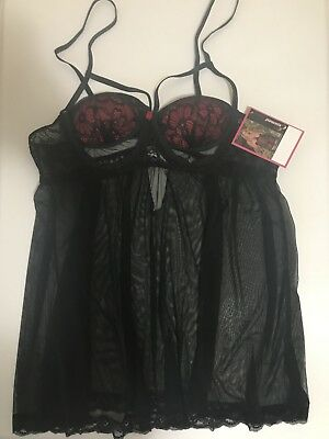 Exposed Lingerie Black Cupless 3x-4x and crotchless panties