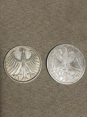 German 2 Silver Coins 1967 5 Deutschmark And 1986 10 Germany Currency All Silver