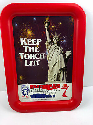 Vintage 1982 Seagram's Whiskey Keep the Torch Lit Statue Liberty Tin Metal Tray