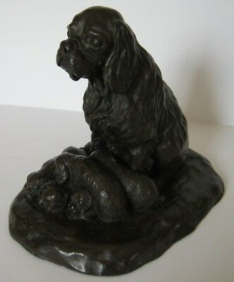 Gosset Bronze Cocker Spaniel Sitting with Pups Figurine Signed Mary Pinsent 1979