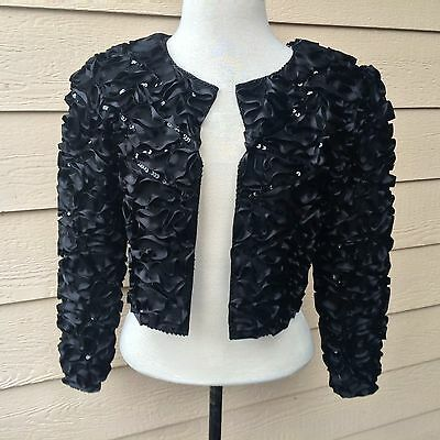 Vintage 80s Glam Swee Lo New York Silk Hand Beaded Ruffle Shrug Bolero P (S-M)