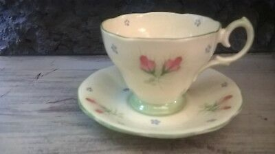 Bell China Sweet Pastel Handpainted Rosebuds Tea Cup & Saucer Cottage Charm