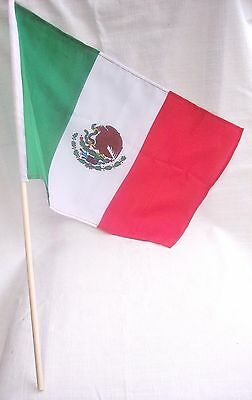 """Mexican Cloth Flag With Eagle & Wooden Pole : Green-White-Red Colors: 18""""x12"""""""