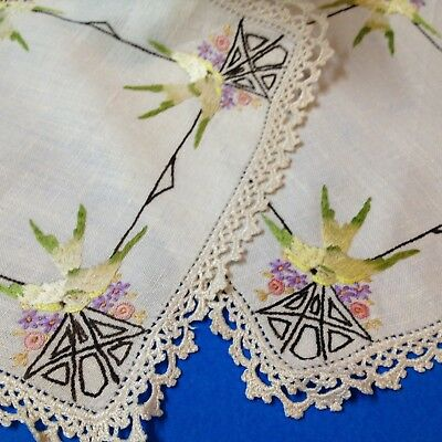 Matching Vintage Pair - Hand Embroidered Linen Doilies - 22x22cm Birds & Blossom