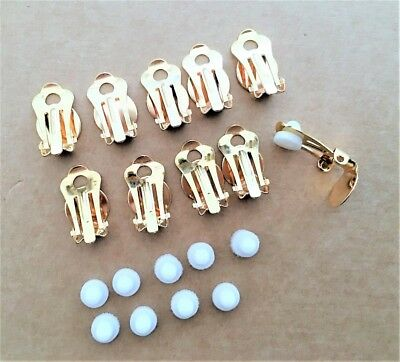 5 x Pairs of Gold Tone Clip On Earring Backs Findings with Rubber Comfort Pads
