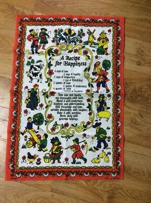 Vintage  Collectable Recipe For Happiness Tea  Towel