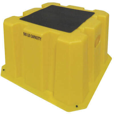 """DPI Polyethylene Step Stand,14-3/4"""" Overall H,500 Ld Cap., NBST-1-14, Yellow"""