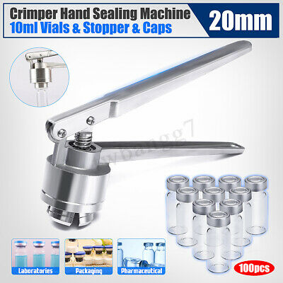 100x 10ml Vials & Stopper & Caps + 20mm Manual Vial Crimper Hand Sealing Machine